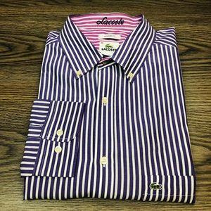 Lacoste Purple & White Stripe Tailored Shirt XL